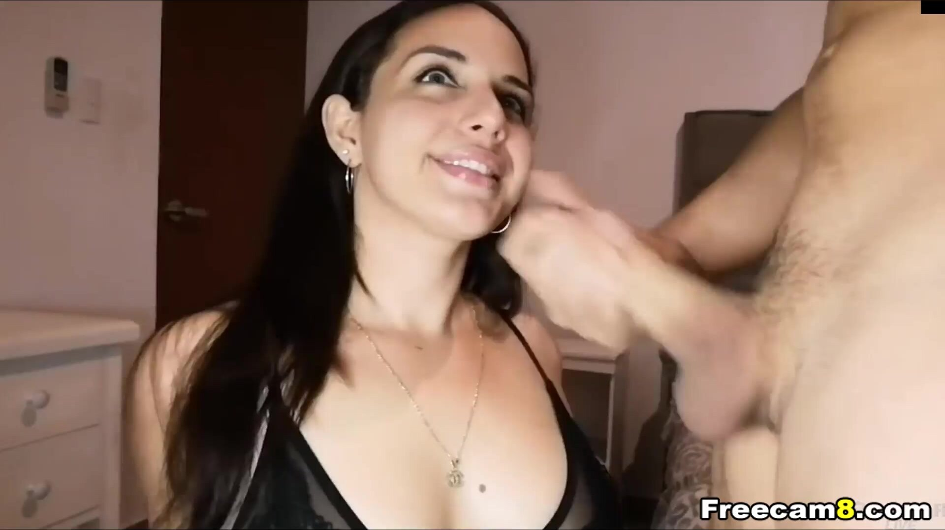 Pretty Brunette Gives a Handjob and BJ