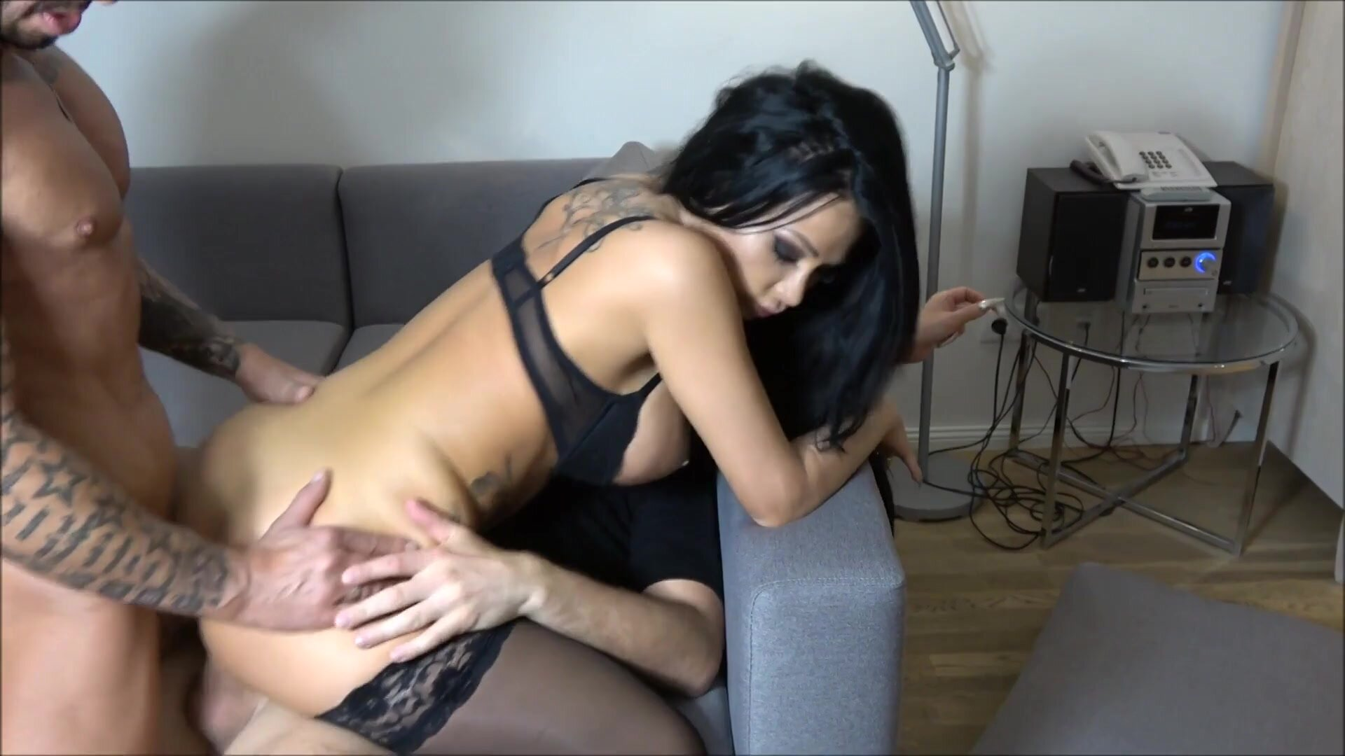 JACKY LAWLESS In Black Stockings Has A Threesome